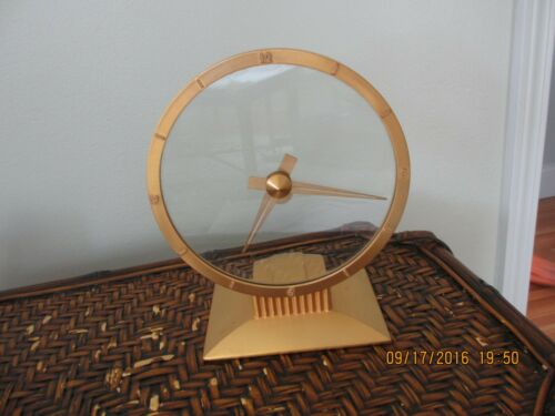 JEFFERSON GOLDEN HOUR VINTAGE MID CENTURY ELEC. CLOCK GOLD WORKS WELL EUC