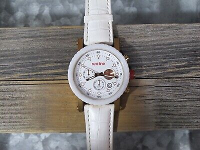 Red Line Men's Compressor Watch White Textured Band, White Dial, Gold Hands