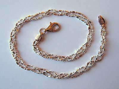 "Italy Sterling Silver & 14k Rose Gold Ankle Bracelet 10"" Rose and Silver Braided"