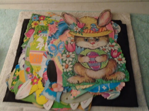 22 VINTAGE EASTER CARDBOARD DIE-CUT BUNNY CHICKS EGGS DECORATIONS
