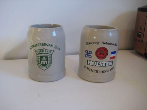 Vintage German Germany Munster Holsten Flag Stoneware Beer Stein Mug Oktoberfest