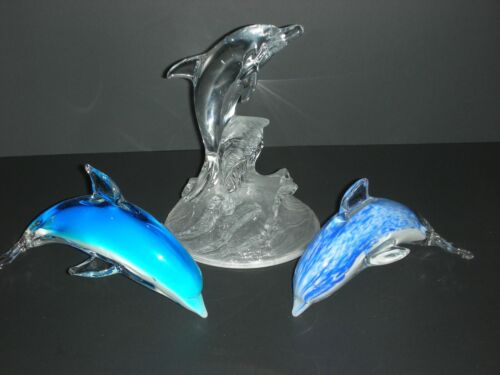 Art Glass & Crystal Hand Blown Dolphins 3