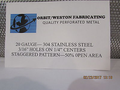 316 Holes--20 Gauge-304 Stainless Steel Perforated Sheet-- 12 X 12