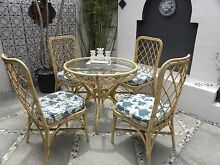 Cane Dining Set Table Chairs Furniture Lounge Outdoor Retro Biggera Waters Gold Coast City Preview