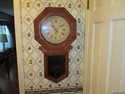 Antique New Haven Eclipse calendar school house Regulator wall clock