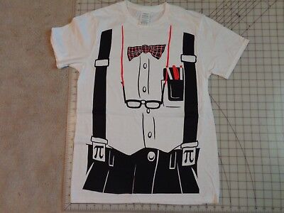 NERD Outfit T-SHIRT Mens MED Tux Print Suspenders - Nerd Outfit