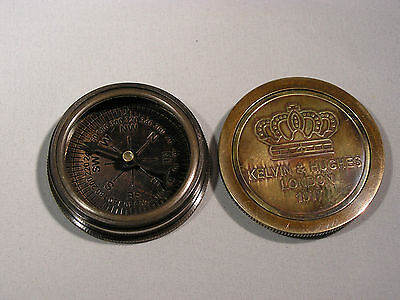 Kompass `Kelvin & Hughes` mit Deckel, antik