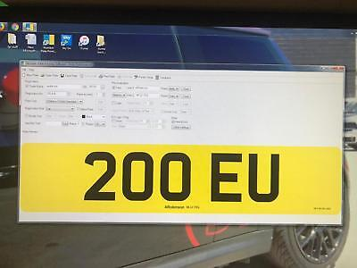 200 EU   CHERISHED PRIVATE NUMBER PLATE DVLA REG