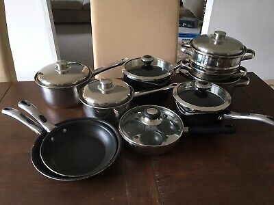 Meyer & Stainless Steel Cooking Pan Set 8 Pieces Inc Steamer & Egg Poacher Meyer Stainless Steel