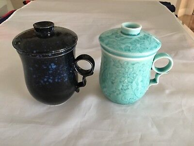 2 Chinese Porcelain Tea Coffee Cup Handled Infuser  Lid 10 oz Green & dk blue
