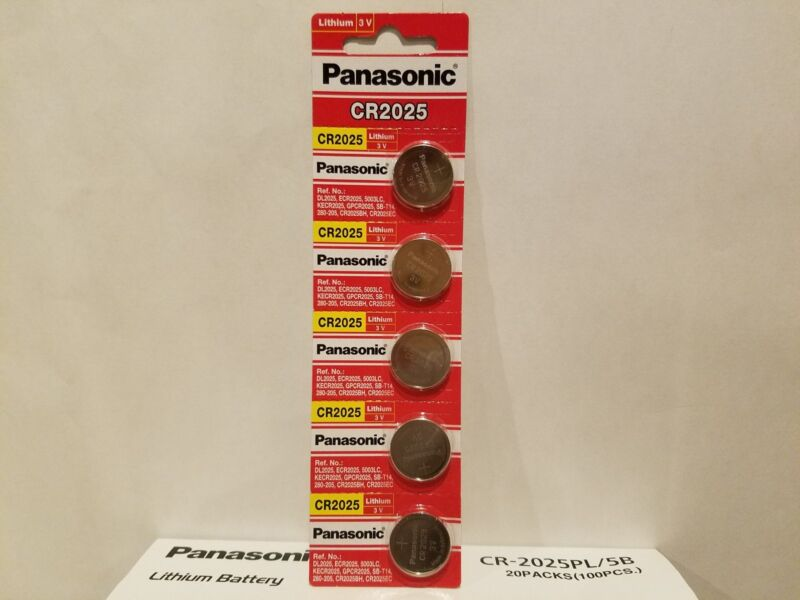 5 Pack New Panasonic 3v Lithium Coin Battery Cr 2025 Ecr2025 Exp 2027