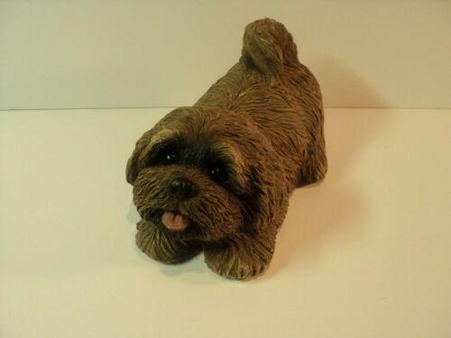 Vintage 1981 Lhasa Apso Sandicast Sculpture, Dog Figurine. Signed by Artist