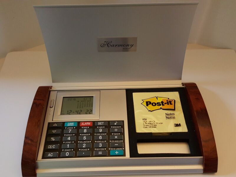 Collectible Alcraft Harmony Walnut and Brushed Metal Clock Calculator Desk Set