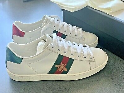 GUCCI Ace Bee White Leather Sneaker shoesBox Dust Bags UK4.5-5 EU36.5 GENUINE