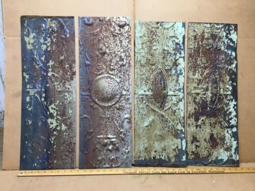 """4 pc 24"""" x 8"""" Fancy Antique Ceiling Tin Vintage Reclaimed Salvage Art Craft"""