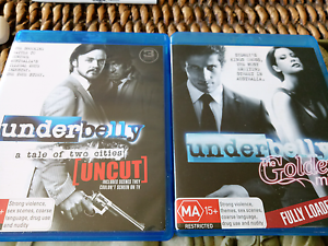 Blu-ray Dvds underbelly $10 each Biggera Waters Gold Coast City Preview