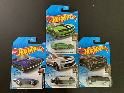 Hot Wheels Lot of 4 w/ Chevy Camaro Speical Treasure Hunt, Copo & Camaro 69 1/64