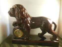 VINTAGE CERAMIC GERMAN CLOCK WITH A LION. MADE IN  GERMANY Table Mantel