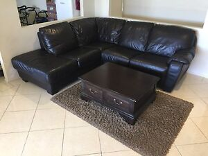 Leather lounge,  coffee table and rug Woongarrah Wyong Area Preview