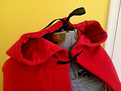 Vintage Womens USED Red Hooded Wool Cape Cloak Colonial Costume Lined SHIPS FREE - Red Hooded Cloak
