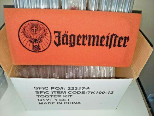JAGERMEISTER Shot Liquor Tooter Set Foam Stands 100 Tubes 1-Spout