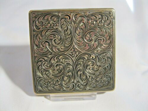 VINTAGE 800 SILVER COMPACT; ELABORATE ENGRAVING ON ALL SIDES; BEAUTIFUL DESIGN