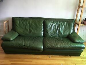 Buffalo leather forest green couch