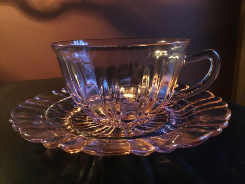 (6) Vintage Anchor Hocking Old Cafe Pink Depression Glass Tea Cups And Saucers