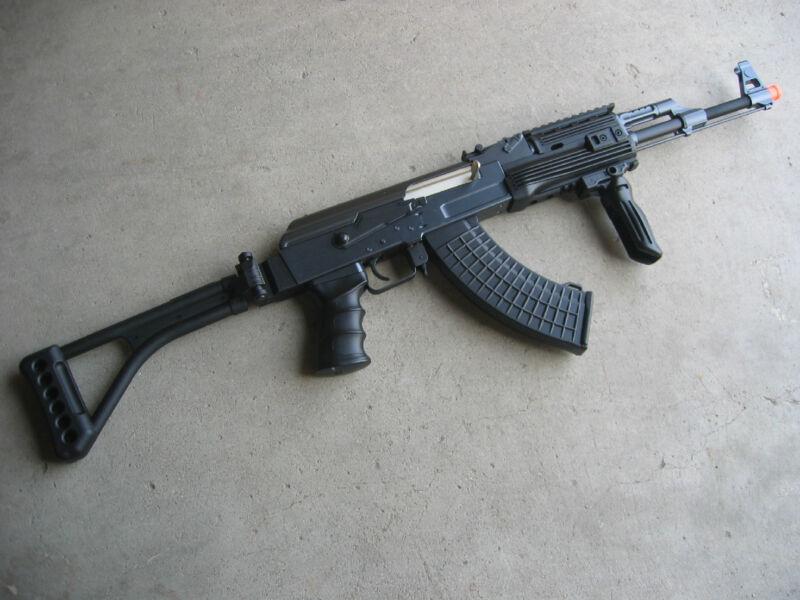 DE Metal AK-47S Airsoft AEG Rifle 320 FPS @ 0.2G w/ RIS Folding Stock Black