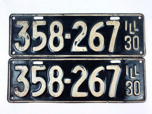 Illinois 1930 Vintage License Plate Pair Antique Model A Year Old Car Man Cave