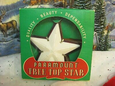 """Vintage Christmas Paramount Lighted Tree Topper 5 1/2"""" Star Hard Plastic #340A"""