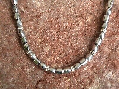 100% Silver Magnetic Hematite Bracelet Anklet Necklace 1 Row with Rhinestone