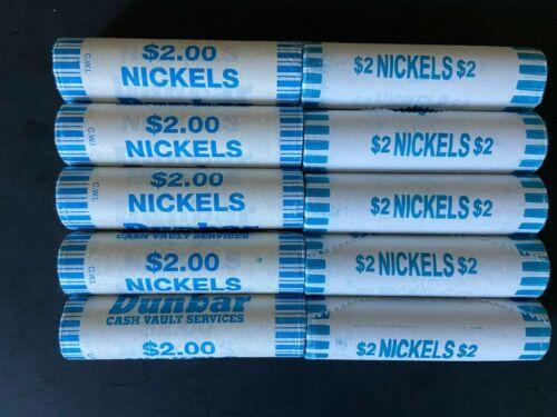2020 P&D 10 Jefferson Nickel Rolls 5 P Mint Rolls & 5 D Mint Rolls