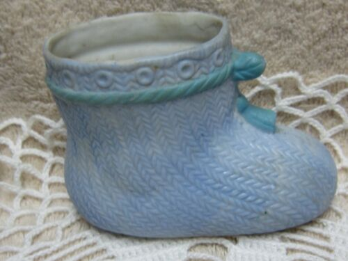 Collectible PORCELAIN Baby Shoe Vase/Planter, Blue, JAPAN Nursery Decor
