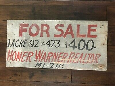 Vintage WOODEN TRADE SIGN For Sale 1 Acre $400 HOMER WARNER REALTOR Akron Oh