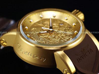 Invicta Men's S1 Yakuza Dragon 24J Automatic 18K Matte Gold IP Brown Strap Watch Automatic Brown Strap Watch
