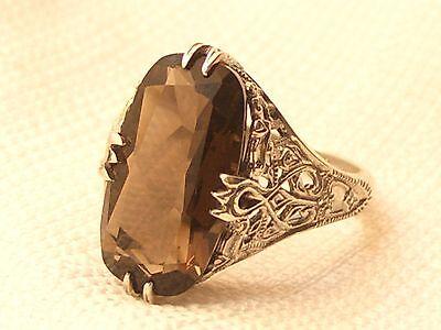 Estate Vintage Sterling Silver CNA Signed Smokey Topaz Filigree Ring