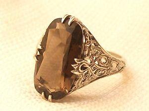 Estate Vintage Sterling Silver CNA Signed Smokey Topaz Filigree Ring .925