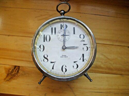 Antique Big Ben Westclox 1910 Peg Legs Nickel Western Clock Co LaSalle Illinois