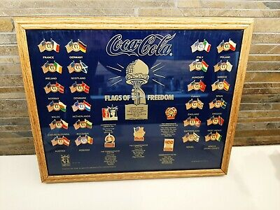 COCA COLA FLAGS OF FREEDOM COLLECTOR PIN SET FRAMED...ELLIS ISLAND ISSUE