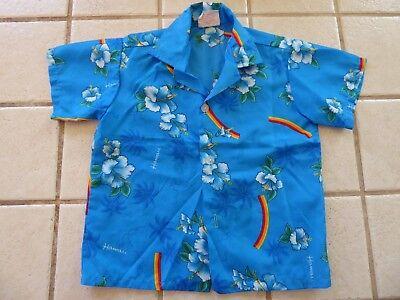 Vintage 80s KALENA FASHIONS Boys HAWAIIAN HIBISCUS RAINBOW Print Shirt Size 4 5 - 80s Boys Fashion