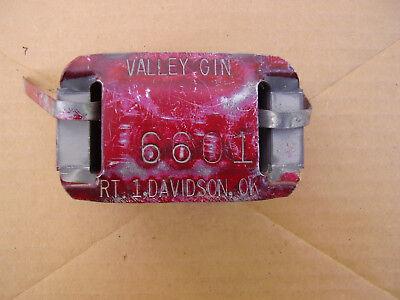 VINTAGE METAL COTTON BALE TAG VALLEY GIN DAVIDSON OKLAHOMA