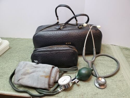 Antique Black Leather Doctors Bag, Stethoscope, Blood Pressure Cuff,