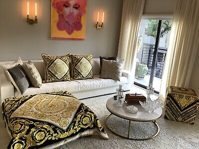 Set Of2 Large Pillows+large Throw Custom Made Versace Baroque Black White Gold