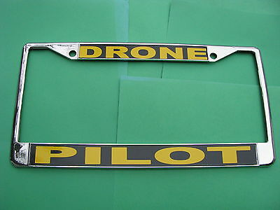 -License Plate Frame-DRONE PILOT-Chromed Cast Metal #811140