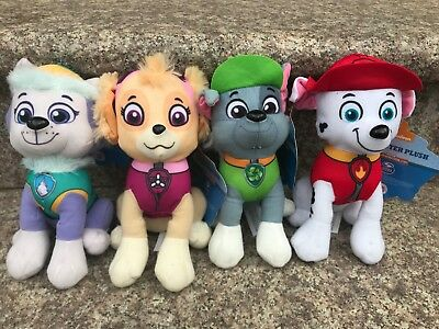 """Set of 4 Paw Patrol Characters 8"""" Plush Doll Toy Everest Skye Rocky Marshall NWT"""