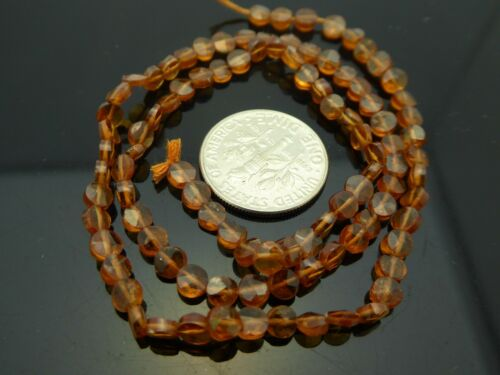 """Natural Hessonite Garnet Faceted Flat Coin 3.5mm  Gemstone Beads Strand 13.5"""""""