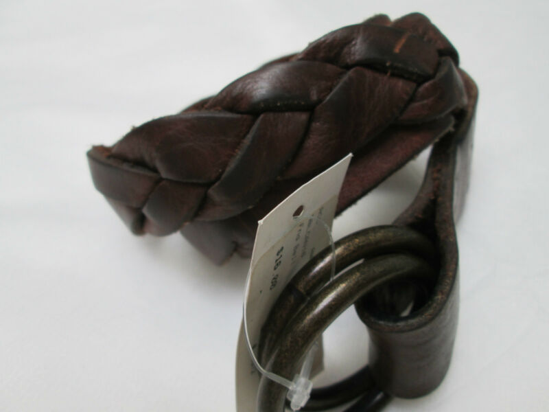 New Jet Rag Womens Brown Part Braided Leather Belt Size S