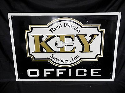 Vintage Key Real Estate Services Office Tin Sign 36 X 24 Original