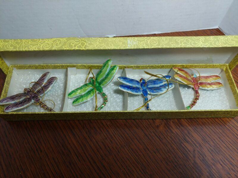 "4- 3 1/4"" vtg dragonflies Cloisonne Metal Christmas Tree Ornament  smithsonian"